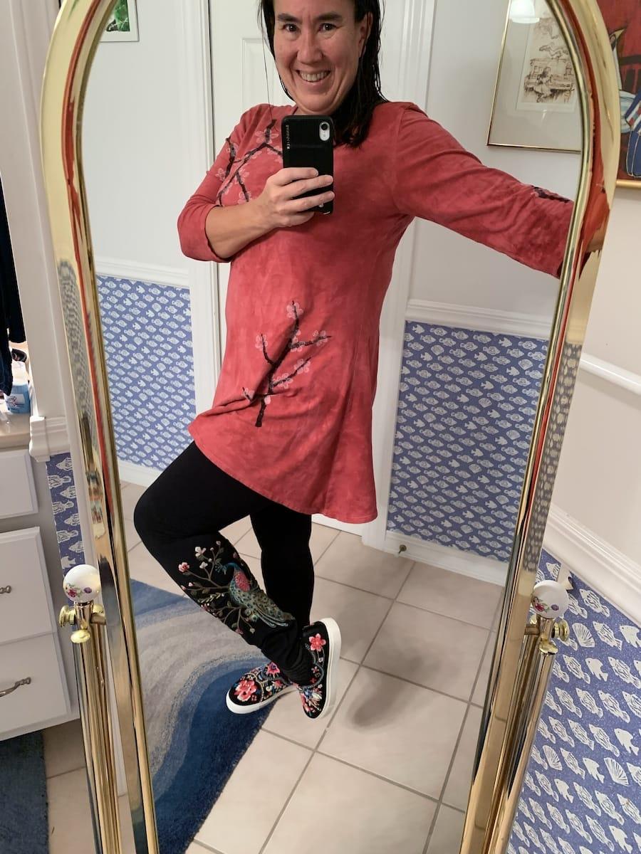 Posing in my new Johnny Was Boho Leggings
